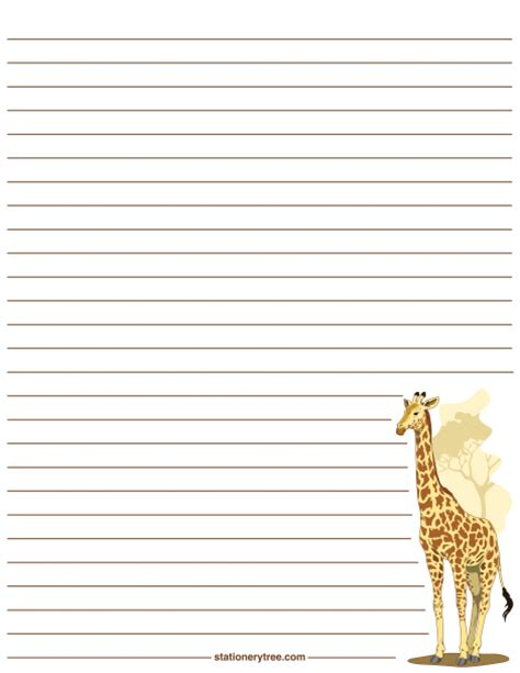printable animal lined paper printable giraffe stationery