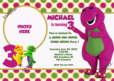 barney birthday invitation card template 25 best images about barney on dubai