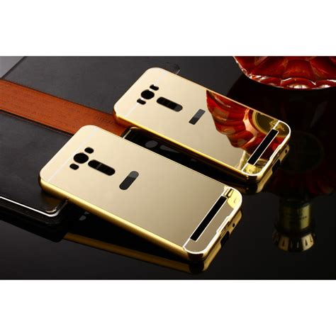 Bumper Mirror Zenfone 4 aluminium bumper with mirror back cover for asus zenfone 2 laser 5 5 inch golden