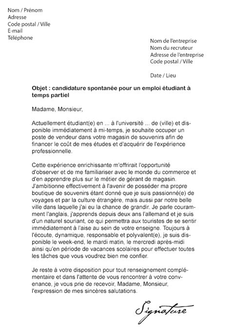 Lettre De Motivation Contrat étudiant Vendeuse Lettre De Motivation 233 Tudiant Temps Partiel Mod 232 Le De Lettre