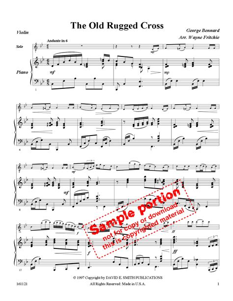 The Rugged Cross Violin Sheet by The Rugged Cross Violin With Piano J W Pepper