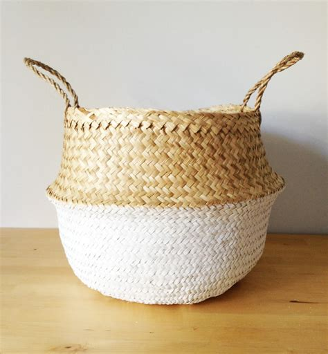 Scandi Living Room dipped dyed white belly basket seagrass panier poule large