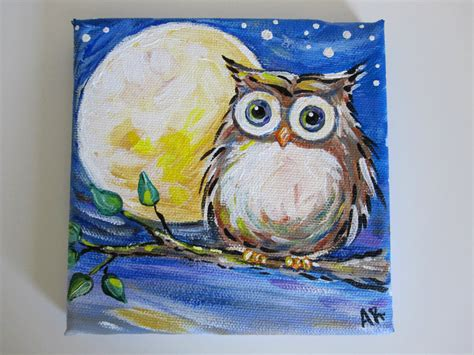 paint nite owl owl painting on canvas owl original by