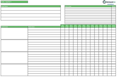weekly goal setting template workweek zen
