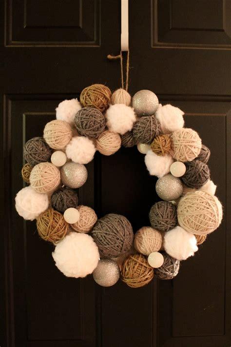 handmade winter yarn ball wreath