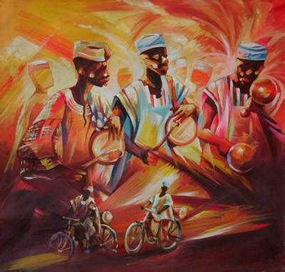 expressionist painting from africa the drummers | novica