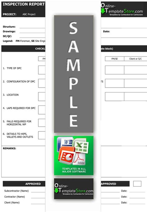drainage report template quality forms construction templates