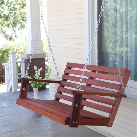 wooden hanging porch swing belham living richmond straight back porch swing with