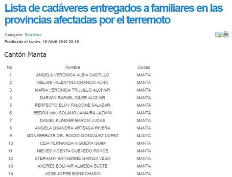 lista blanca sri ecuador fiscal 237 a publica lista de personas fallecidas en terremoto