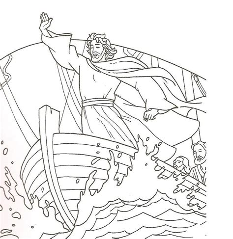 coloring pages jesus in the boat jesus calms the matthew 8 4 luke 8