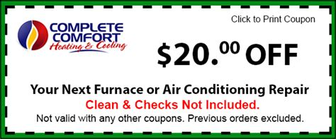 complete comfort heating and cooling get discount coupons save on furnace air conditioning