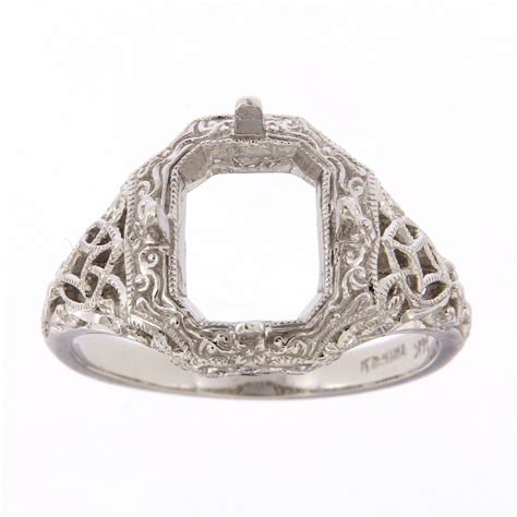 antique style semi mount ring 14kt white