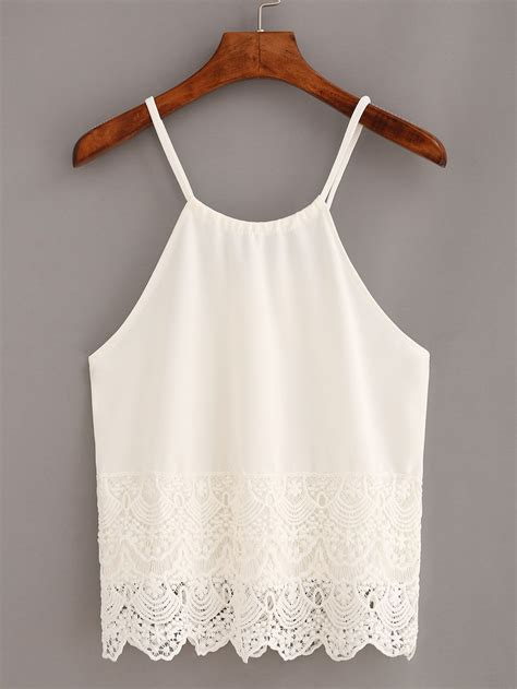 lace trimmed keyhole drawstring neck cami top white