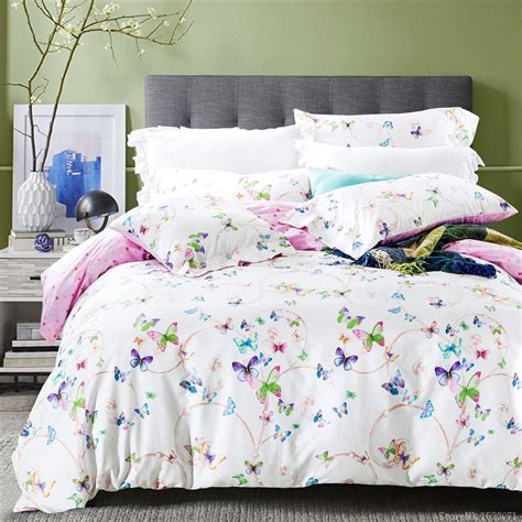 2017 purple floral butterfly bedding sets cotton bed