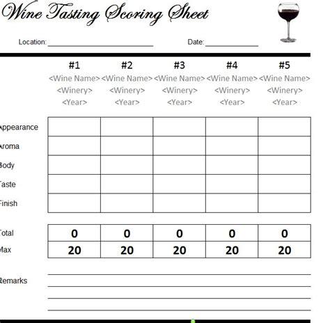wine tasting scorecard wine tasting scoresheet