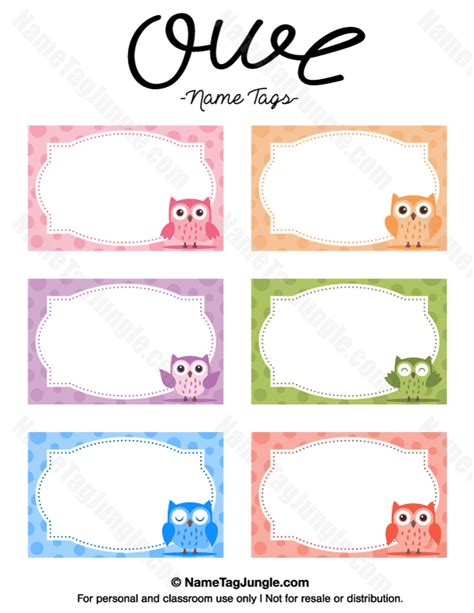 nametag template free printable owl name tags the template can also be