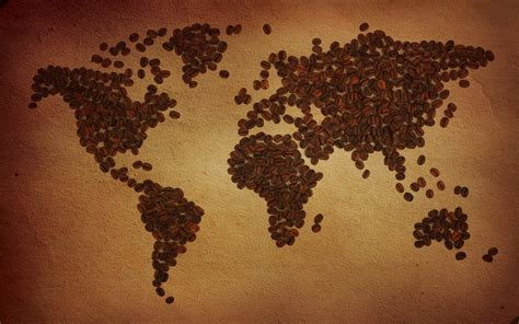 Coffee World gr 227 os de caf 233 mundo mapa hd papel de parede widescreen