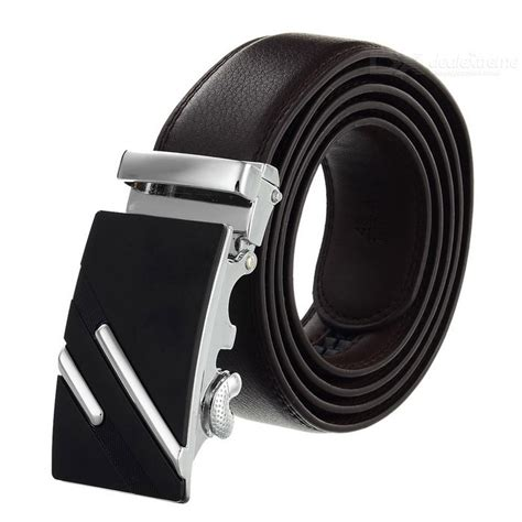 Lines Silver Leather s leather belt w parallel lines pattern buckle