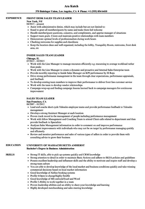 team leader sle resume sales team leader resume resume ideas