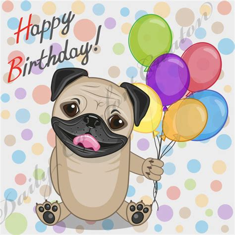pug birthday song happy birthday clipart clipartxtras