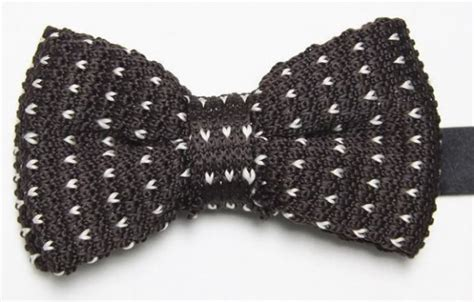 Knit Bowtie Brown brown knitted bow tie with white pattern with free and fast uk delivery