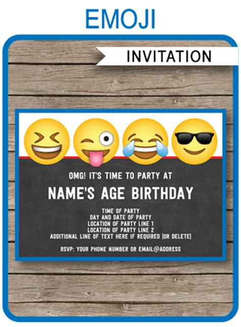 Emoji Theme Party Invitations Template Printable Boys Emoji Invite Emoji Birthday Invitation Template