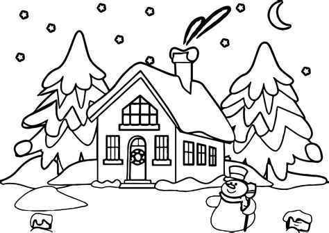 snowy house coloring pages snowman house coloring page wecoloringpage