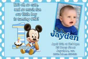 mickey mouse 1st birthday invitations baby mickey mouse 1st