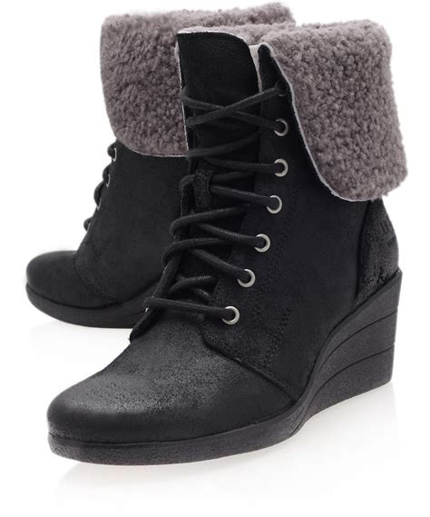 ugg black zea suede ankle boots in black lyst