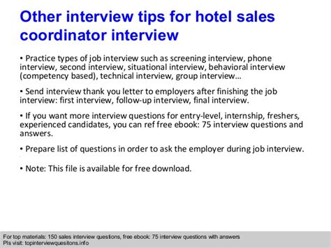 hotel sales coordinator questions and answers