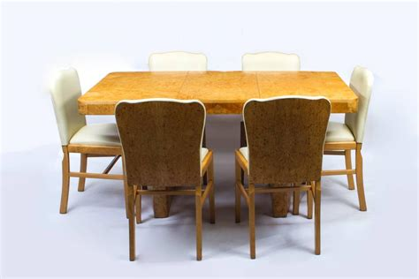Maple Dining Table And Chairs Antique Deco Bird S Eye Maple Dining Table And Six Chairs For Sale At 1stdibs
