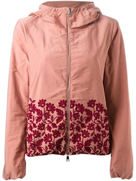 Pink Flower Jacket moncler floral embroidered jacket in pink pink purple lyst