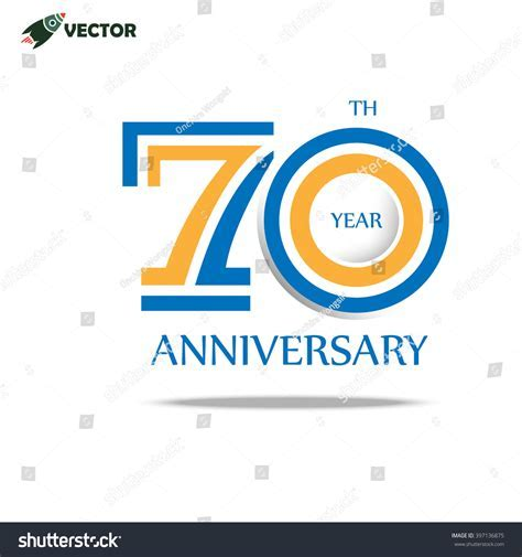 70th Years Anniversary Label Logo Sign Stock Vector