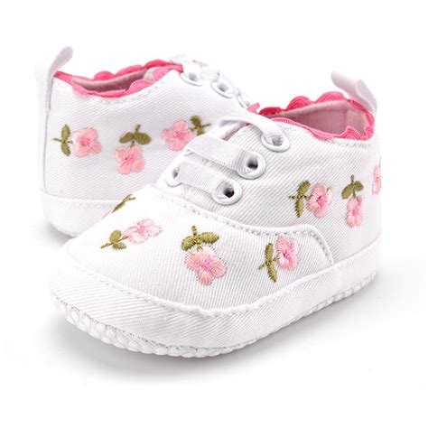 Baby Shoes Prewalker Ella White baby shoes white lace embroidered soft shoes prewalker walking toddler shoes newborn baby