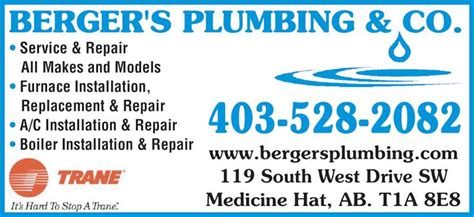 Plumbing Supplies Medicine Hat by Berger S Plumbing Company Medicine Hat Ab 119 South