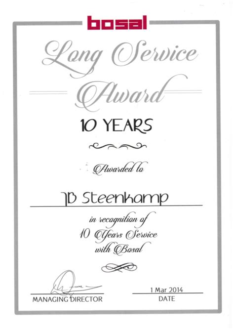 10 year service award certificate template 10 years service award