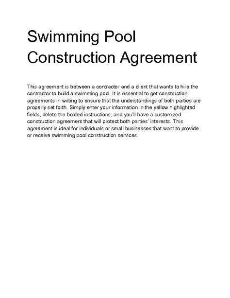 Welcome To Docs 4 Sale Swimming Pool Construction Contract Templates