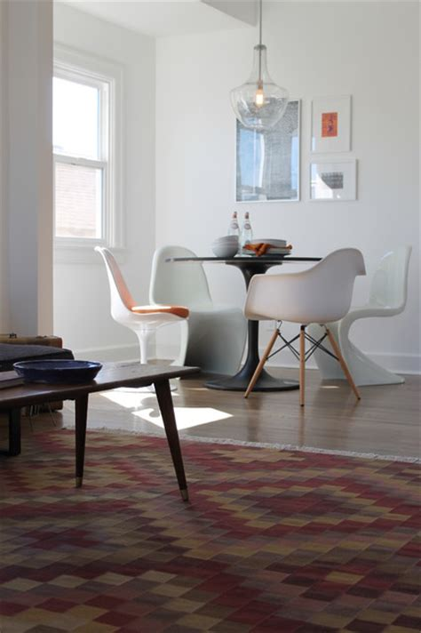 dining room chairs los angeles kilim rug and iconic mcm chairs modern dining room