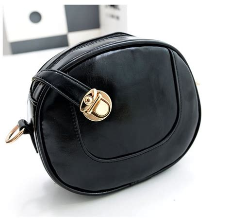 jual tas selempang fashion wanita korea warna hitam bentuk bulat simple import ready stock