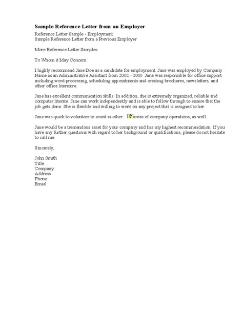 Excellent Reference Letter From Employer Sle Recommendation Letter From A Previous Employer Free