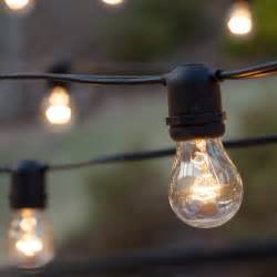 Patio Light Bulbs Patio Lights Commercial Clear Patio String Lights 50 A15 E26 Bulbs Black Wire