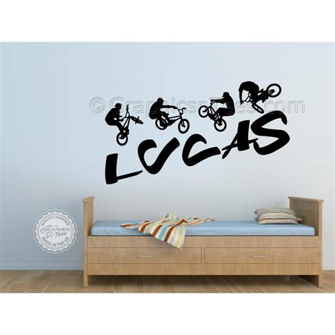 bedroom wall stickers for boys personalised bmx bike wall stickers boy girls bedroom