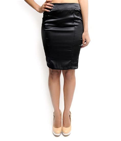 buy n gal black satin pencil skirt at best prices