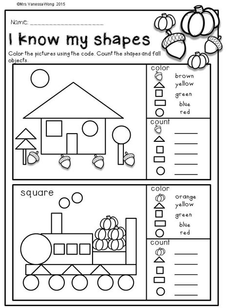 printable shapes book for preschool fall activities for kindergarten math and literacy no prep
