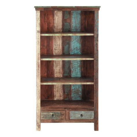 recycled wood bookcase w 96cm calanque maisons du monde