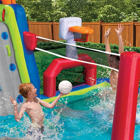 inflatable backyard water park banzai inflatable aqua sports splash kiddie pool and slide backyard water park ebay