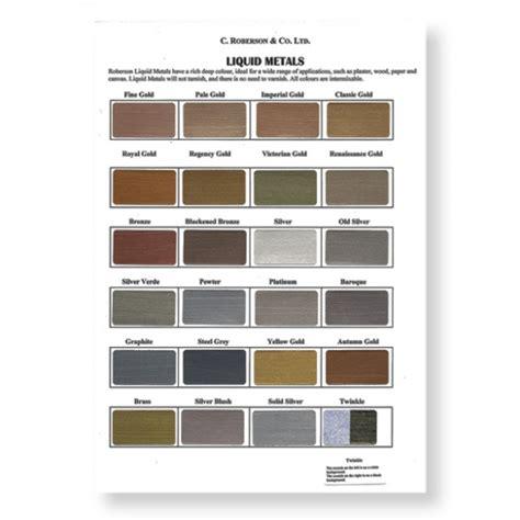 color of metals roberson liquid metal original colour chart imitation