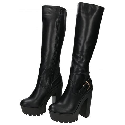 koi couture chunky heel platform boots knee high stretchy
