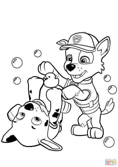 paw patrol spring coloring pages paw patrol rocky and marshall coloring page free