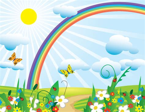 photo collection cartoon scenery with rainbow